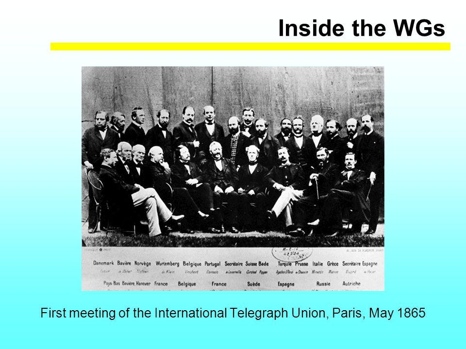 Inside the WGs First meeting of the International Telegraph Union, Paris, May 1865