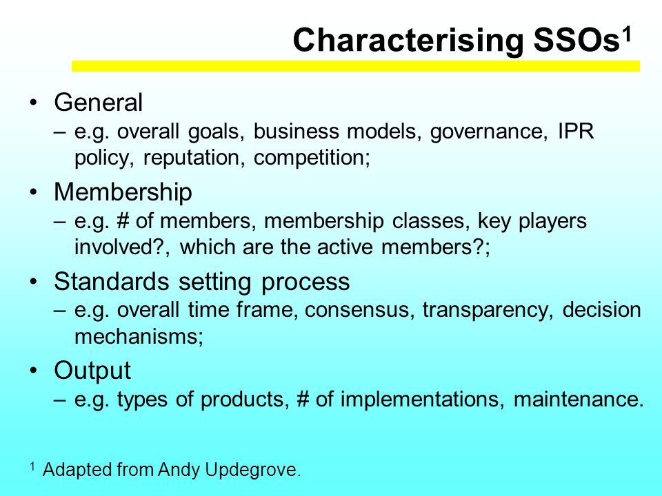 Characterising SSOs 1 General –e.g.