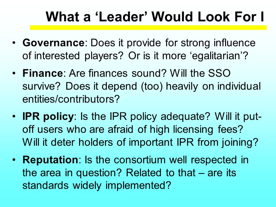 What a 'Leader' Would Look For I Governance: Does it provide for strong influence of interested players.