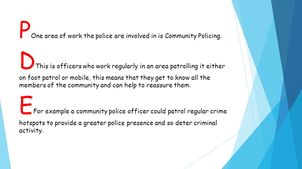P One area of work the police are involved in is Community Policing.