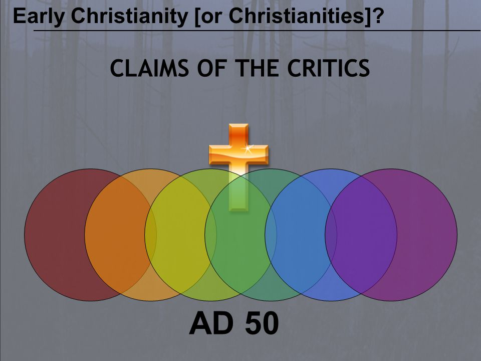 AD 50 CLAIMS OF THE CRITICS Early Christianity [or Christianities]?