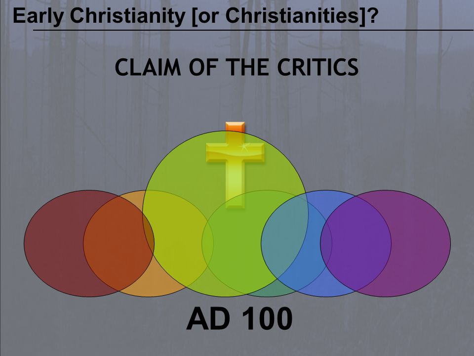 AD 100 CLAIM OF THE CRITICS Early Christianity [or Christianities]