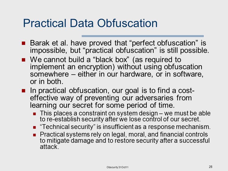 Obscurity 31Oct11 28 Practical Data Obfuscation Barak et al.