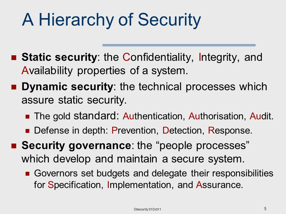 Obscurity 31Oct11 5 A Hierarchy of Security Static security: the Confidentiality, Integrity, and Availability properties of a system.