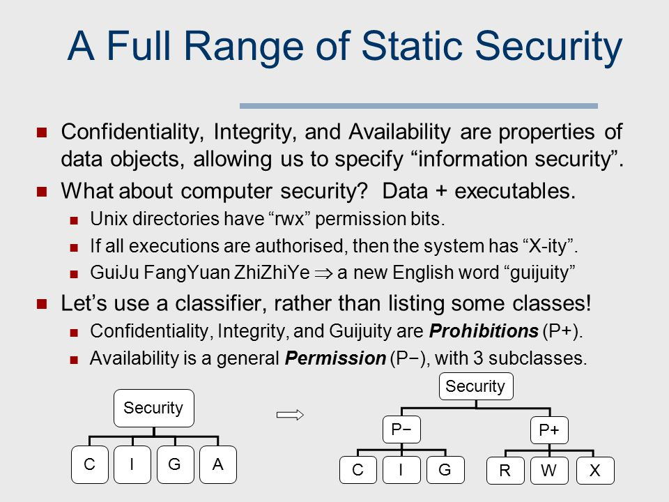 A Full Range of Static Security Confidentiality, Integrity, and Availability are properties of data objects, allowing us to specify information security .