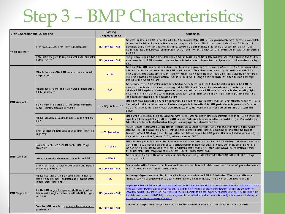 Step 3 – BMP Characteristics