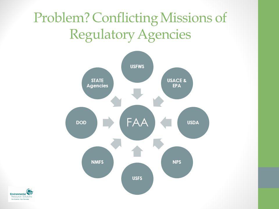 Problem? Conflicting Missions of Regulatory Agencies FAA USFWS USACE & EPA USDANPSUSFSNMFSDOD STATE Agencies