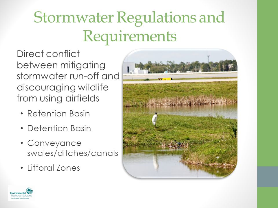 Stormwater Regulations and Requirements Direct conflict between mitigating stormwater run-off and discouraging wildlife from using airfields Retention