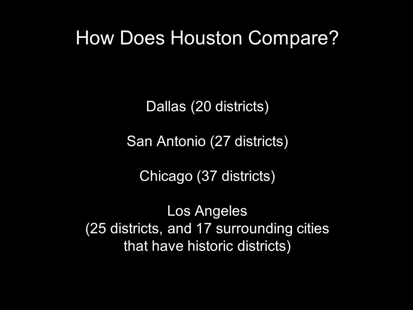 How Does Houston Compare.