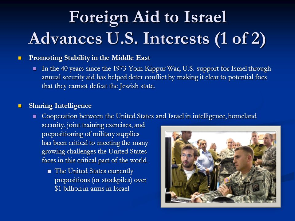 Foreign Aid to Israel Advances U.S. Interests (1 of 2) Promoting Stability in the Middle East Promoting Stability in the Middle East In the 40 years s