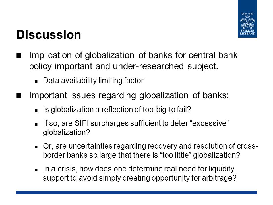 Discussion (cont'd) Important issues regarding autonomy of monetary policy: How does foreign policy affect expectations of domestic monetary policy.