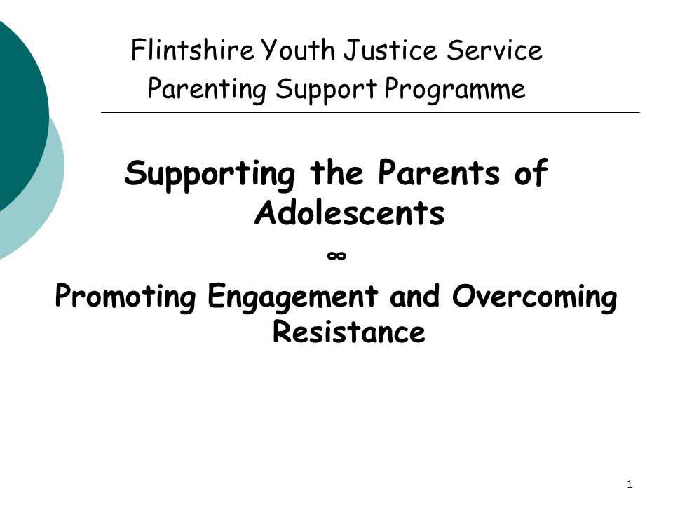 1 Flintshire Youth Justice Service Parenting Support Programme Supporting the Parents of Adolescents ∞ Promoting Engagement and Overcoming Resistance