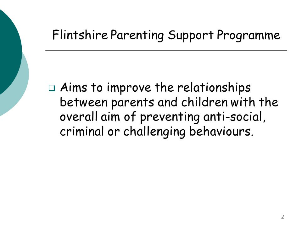 2 Flintshire Parenting Support Programme  Aims to improve the relationships between parents and children with the overall aim of preventing anti-soci