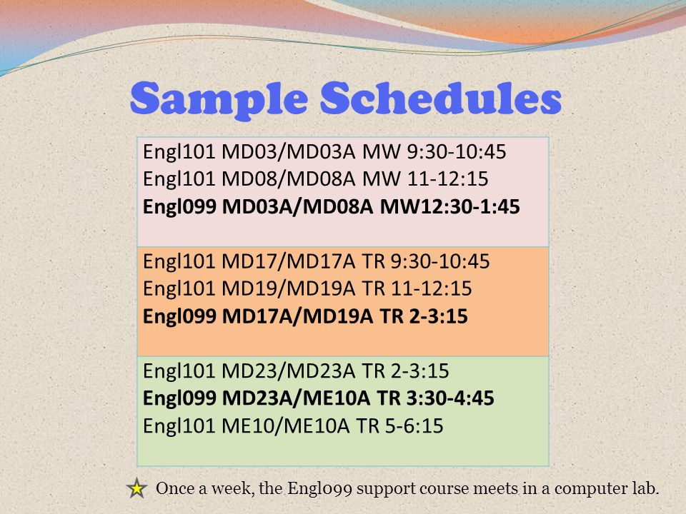 Sample Schedules Engl101 MD03/MD03A MW 9:30-10:45 Engl101 MD08/MD08A MW 11-12:15 Engl099 MD03A/MD08A MW12:30-1:45 Engl101 MD17/MD17A TR 9:30-10:45 Engl101 MD19/MD19A TR 11-12:15 Engl099 MD17A/MD19A TR 2-3:15 Engl101 MD23/MD23A TR 2-3:15 Engl099 MD23A/ME10A TR 3:30-4:45 Engl101 ME10/ME10A TR 5-6:15 Once a week, the Engl099 support course meets in a computer lab.