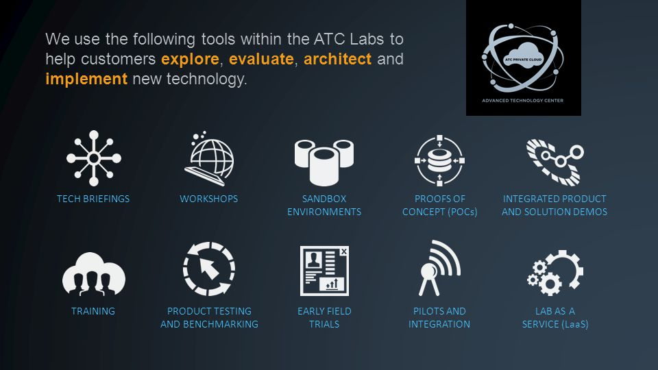 We use the following tools within the ATC Labs to help customers explore, evaluate, architect and implement new technology.