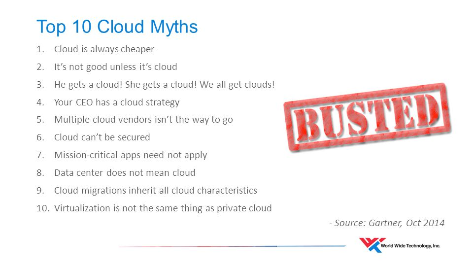 Top 10 Cloud Myths 1.Cloud is always cheaper 2.It's not good unless it's cloud 3.He gets a cloud.