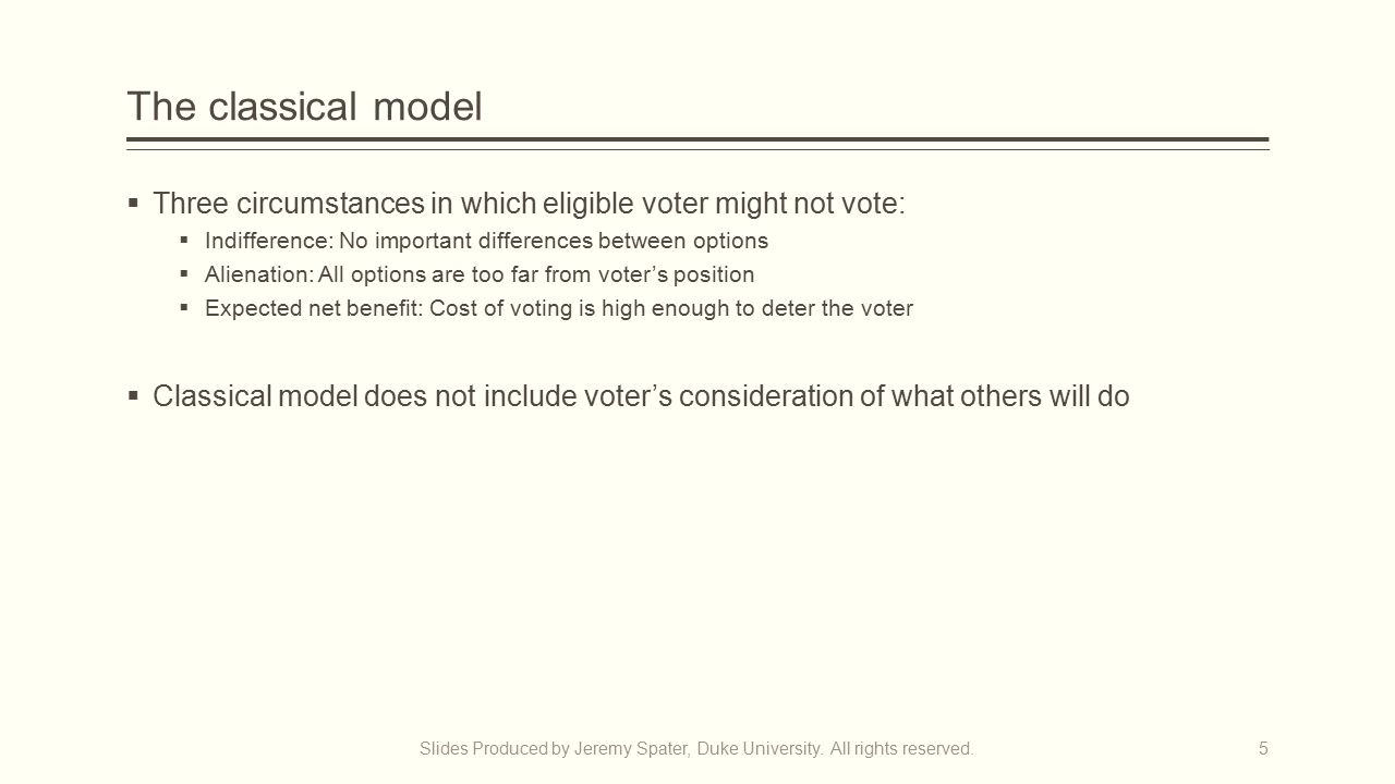 The classical model  Three circumstances in which eligible voter might not vote:  Indifference: No important differences between options  Alienation: All options are too far from voter's position  Expected net benefit: Cost of voting is high enough to deter the voter  Classical model does not include voter's consideration of what others will do Slides Produced by Jeremy Spater, Duke University.