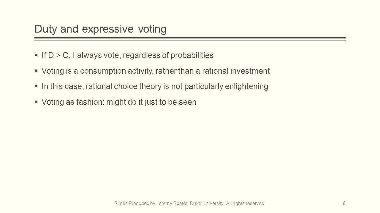 Duty and expressive voting  If D > C, I always vote, regardless of probabilities  Voting is a consumption activity, rather than a rational investment  In this case, rational choice theory is not particularly enlightening  Voting as fashion: might do it just to be seen Slides Produced by Jeremy Spater, Duke University.