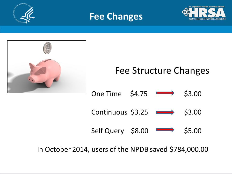 Fee Changes Fee Structure Changes One Time $4.75 $3.00 Continuous $3.25 $3.00 Self Query $8.00$5.00 In October 2014, users of the NPDB saved $784,000.00