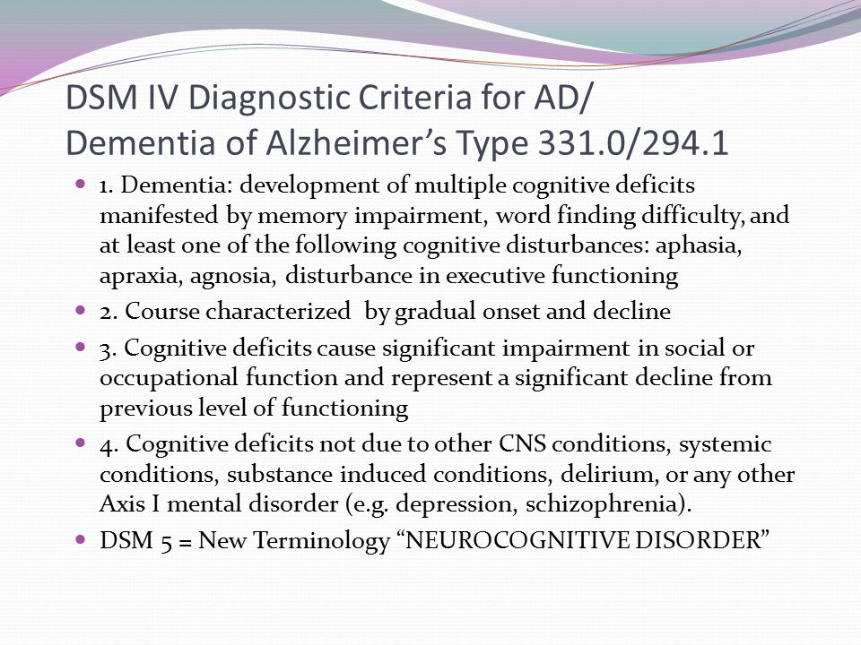 DSM IV Diagnostic Criteria for AD/ Dementia of Alzheimer's Type 331.0/294.1 1. Dementia: development of multiple cognitive deficits manifested by memo