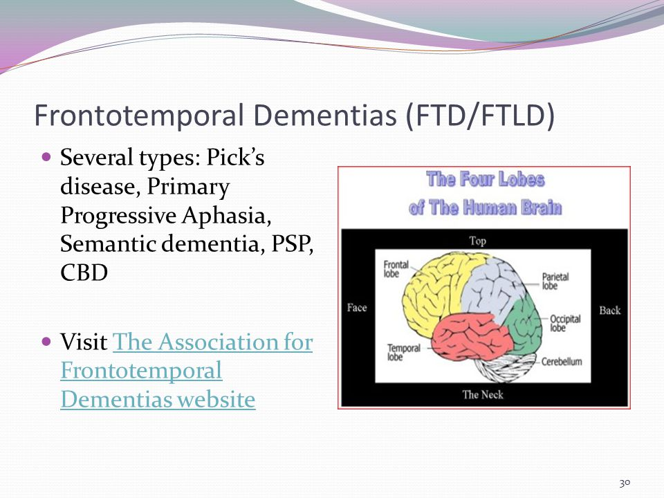 Frontotemporal Dementias (FTD/FTLD) Several types: Pick's disease, Primary Progressive Aphasia, Semantic dementia, PSP, CBD Visit The Association for