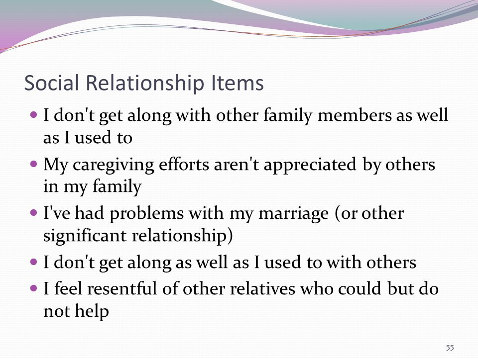 Social Relationship Items I don't get along with other family members as well as I used to My caregiving efforts aren't appreciated by others in my fa