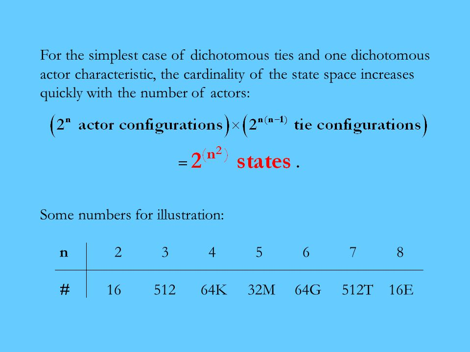n 2 3 4 5 6 7 8 #1651264K32M64G512T16E For the simplest case of dichotomous ties and one dichotomous actor characteristic, the cardinality of the state space increases quickly with the number of actors: Some numbers for illustration:
