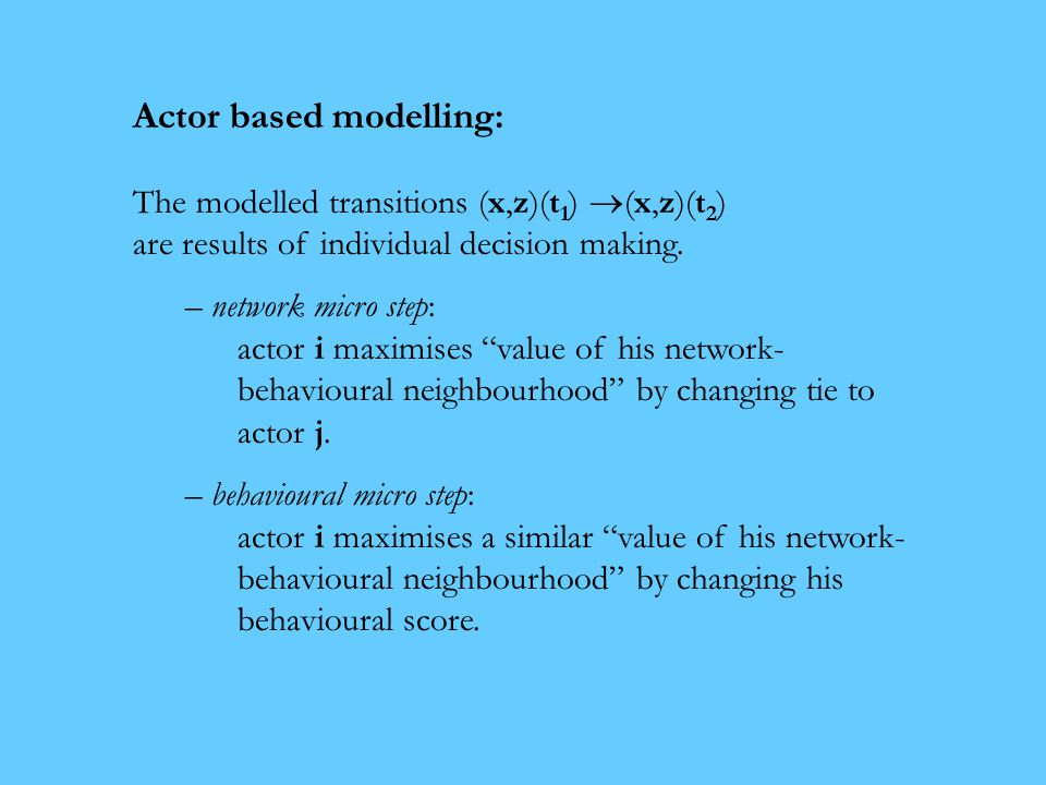 Actor based modelling: The modelled transitions (x,z)(t 1 )  (x,z)(t 2 ) are results of individual decision making.