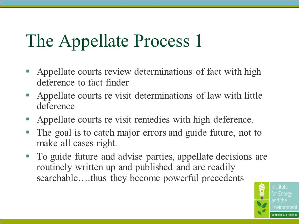 The Appellate Process 1  Appellate courts review determinations of fact with high deference to fact finder  Appellate courts re visit determinations of law with little deference  Appellate courts re visit remedies with high deference.