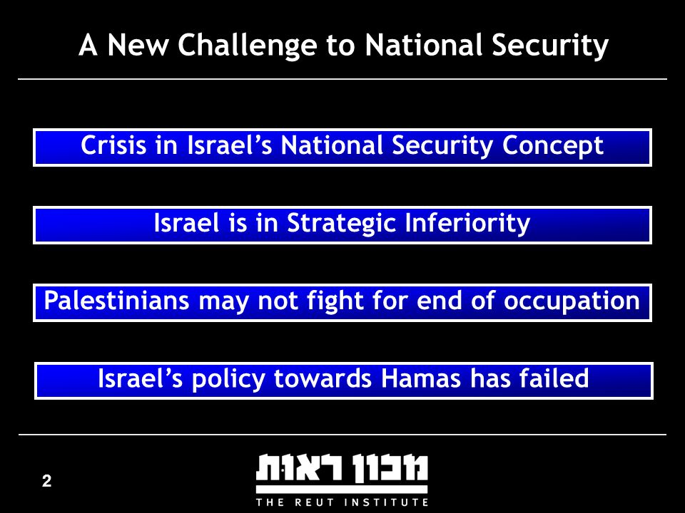 2 A New Challenge to National Security Crisis in Israel's National Security Concept Israel is in Strategic Inferiority Palestinians may not fight for end of occupation Israel's policy towards Hamas has failed