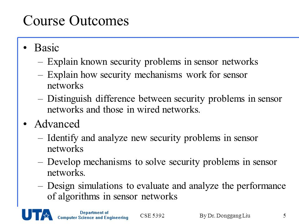 CSE 5392By Dr. Donggang Liu5 Course Outcomes Basic –Explain known security problems in sensor networks –Explain how security mechanisms work for senso
