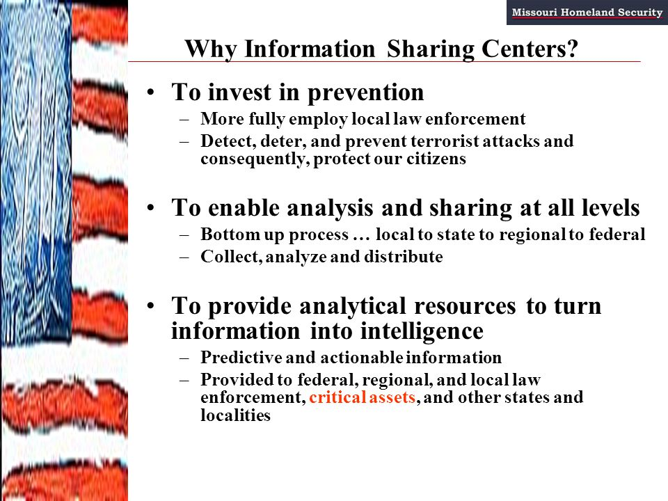 Why Information Sharing Centers.