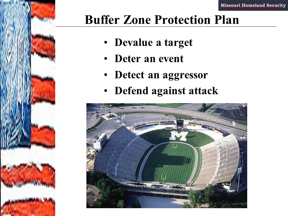 Buffer Zone Protection Plan Devalue a target Deter an event Detect an aggressor Defend against attack