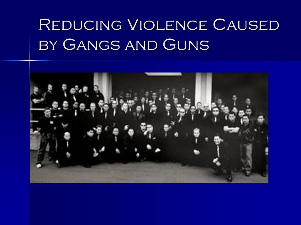 Gangs and Guns Goal Reduce violence caused by those who menace and intimidate. Reduce violence caused by those who menace and intimidate.