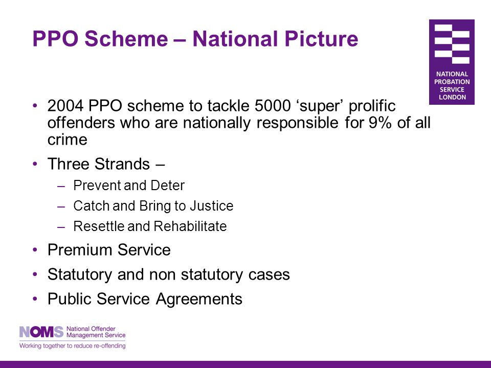 London PPO Scheme London Model Guidance – setting up and operating schemes in 32 London boroughs Covers structures and processes Multi-agency document Sets out best practice My role – link with national development into London PPO schemes