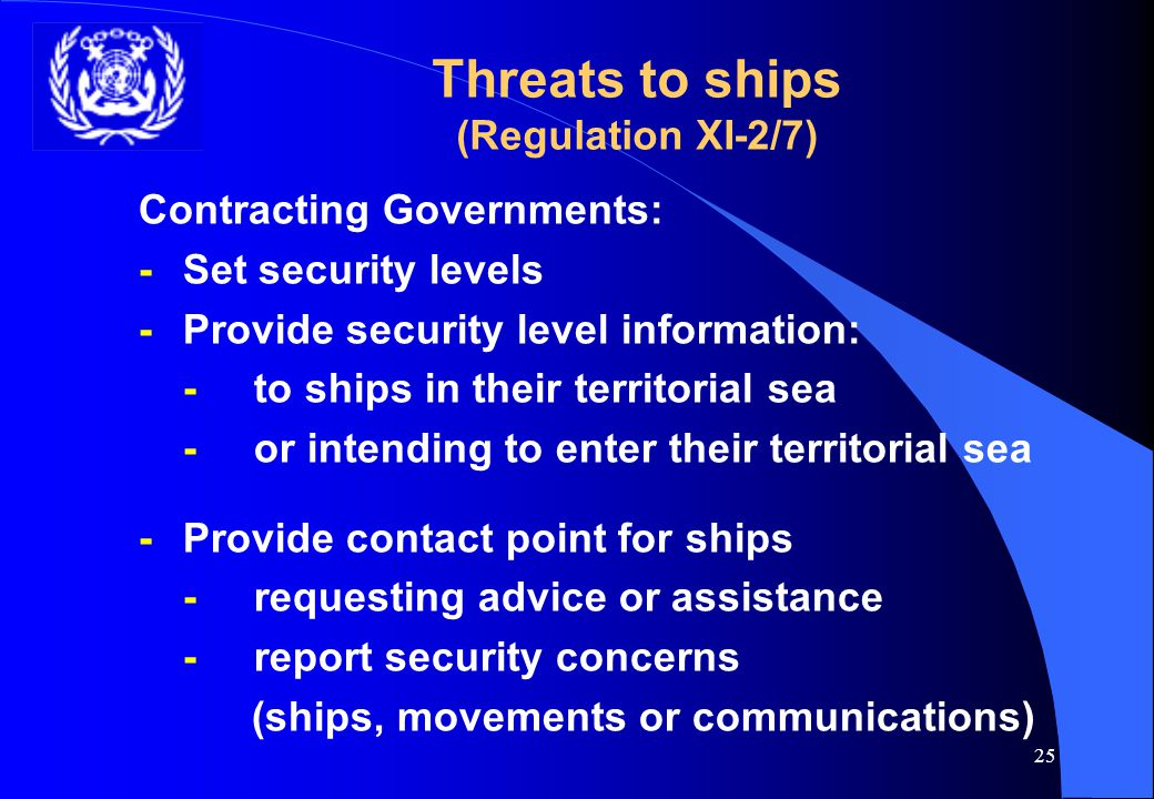24 Chapter XI-2 Vessels Require to have:- l Ship Security Alert System (SSAS)