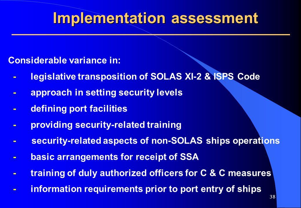 37 Implementation Assessment