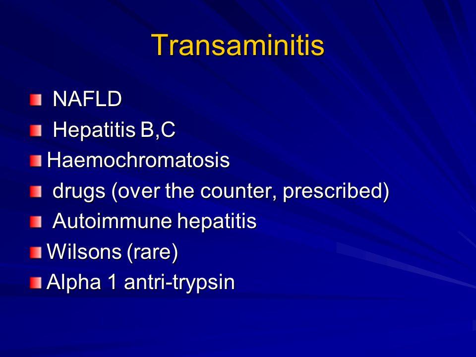 Liver tests Hep B S Ag, Hep C antibody Anti Sm, ANA, immunoglobulins Ferritin, transferrin saturation Cu, Caerluoplasmin Alpha 1 antitrypsin Tissue transglutaminase Liver ultrasound