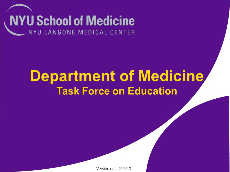 Education Task Force Goal: Develop strategies that adapt to the changing education and clinical environment Issues to address: –Complete plans for UME/GME during post-Sandy recovery –Consider structural changes given the Sandy experience and external forces, including size of GME programs –Develop strategy for role of housestaff in inpatient/ambulatory settings