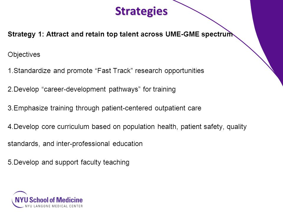 Strategies Strategy 2: Develop GME training model that adapts to changing healthcare landscape Objectives: 1.Align educational goals with institutional mission 2.Increase ambulatory training time and opportunities 3.Teach and assess competencies through patient-centered longitudinal care medical home model 4.Establish performance and accountability standards linked to competencies for cost effective evidence-based practice and professionalism