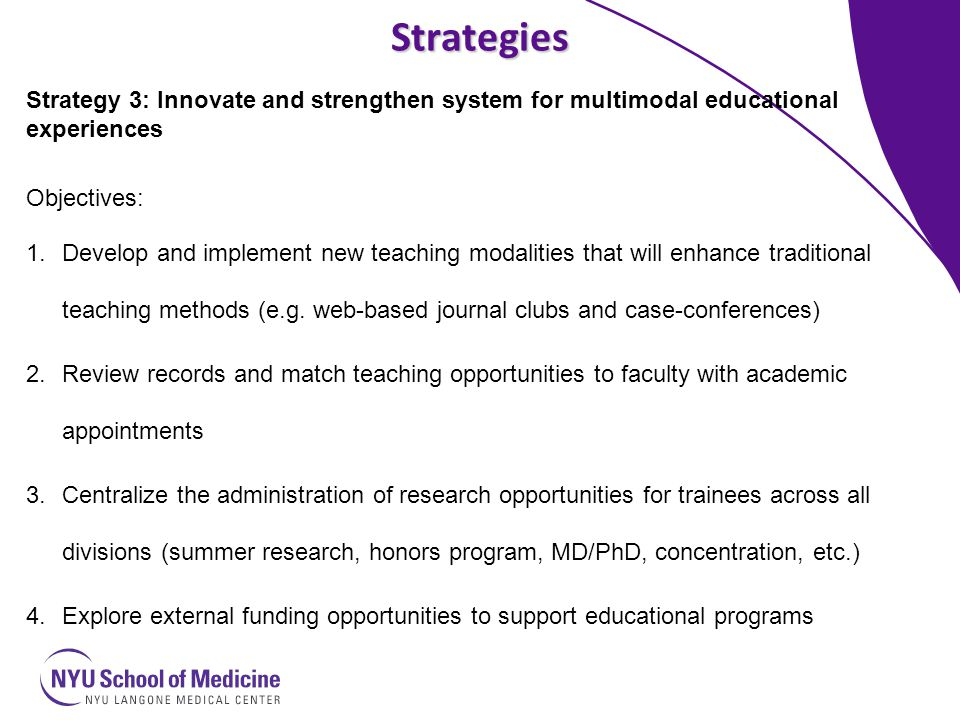 Strategies Strategy 3: Innovate and strengthen system for multimodal educational experiences Objectives: 1.Develop and implement new teaching modalities that will enhance traditional teaching methods (e.g.