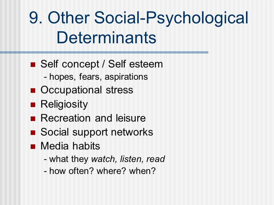 9. Other Social-Psychological Determinants Self concept / Self esteem - hopes, fears, aspirations Occupational stress Religiosity Recreation and leisu