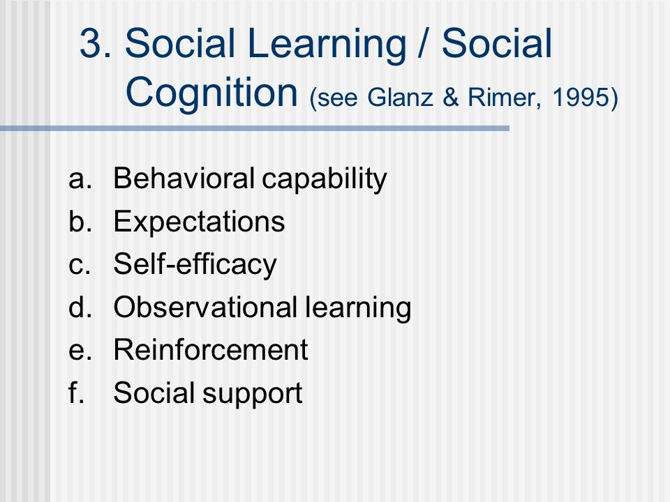 3. Social Learning / Social Cognition (see Glanz & Rimer, 1995) a.Behavioral capability b.Expectations c.Self-efficacy d.Observational learning e.Rein