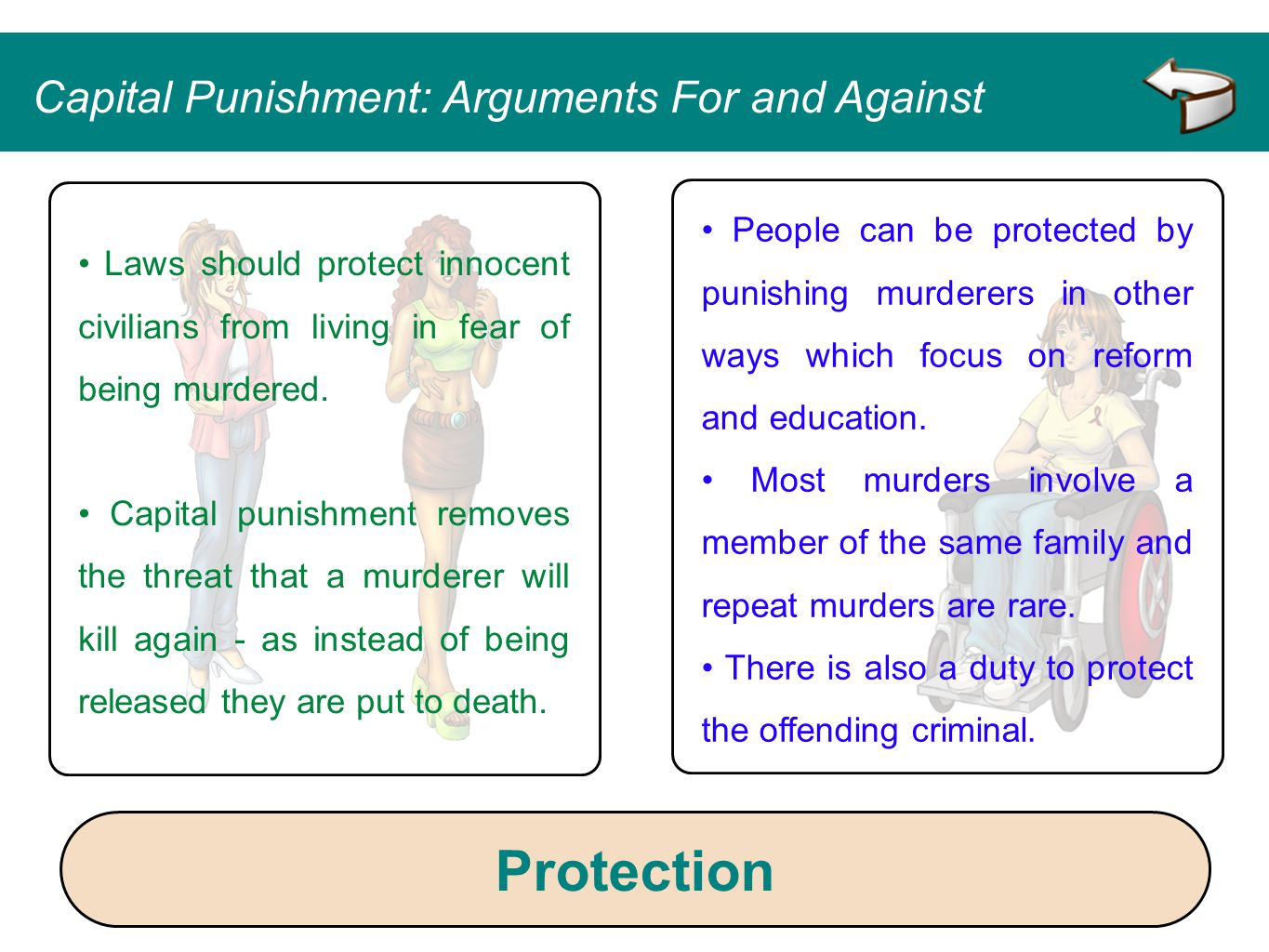 People can be protected by punishing murderers in other ways which focus on reform and education. Most murders involve a member of the same family and