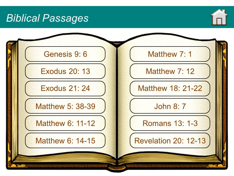 Genesis 9: 6 Exodus 20: 13 Exodus 21: 24 Matthew 5: 38-39 Matthew 6: 11-12 Matthew 6: 14-15 Matthew 7: 1 Matthew 7: 12 Matthew 18: 21-22 John 8: 7 Rom