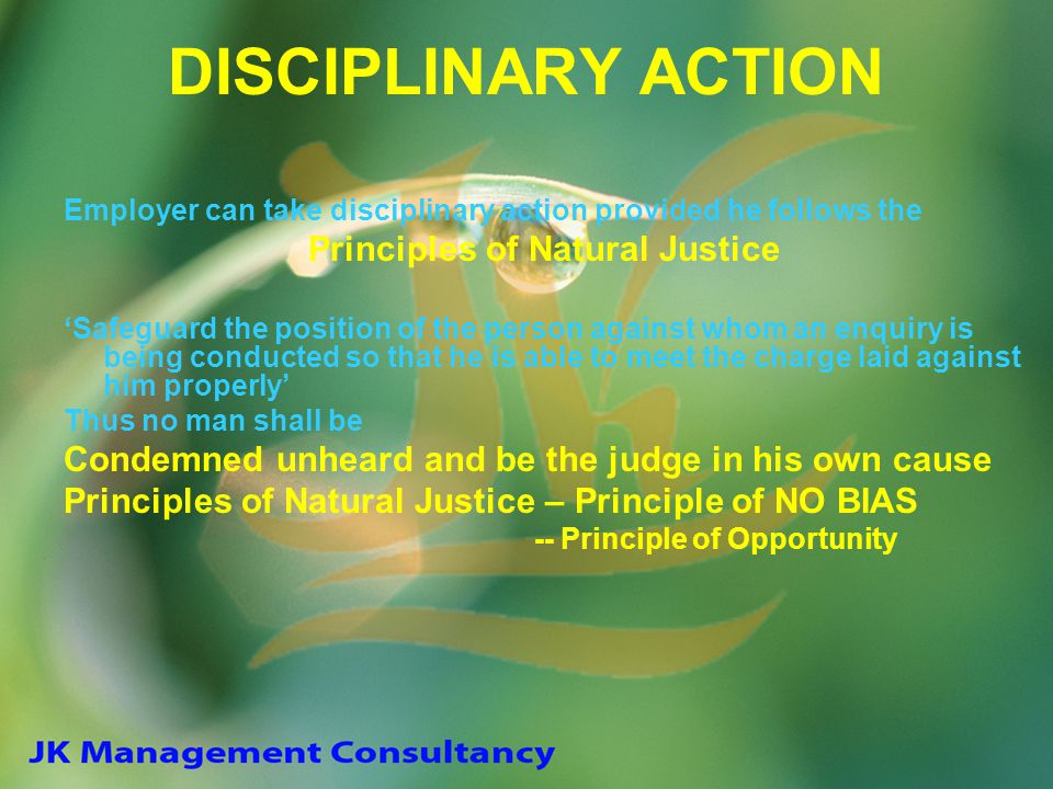 DISCIPLINARY ACTION Employer can take disciplinary action provided he follows the Principles of Natural Justice 'Safeguard the position of the person