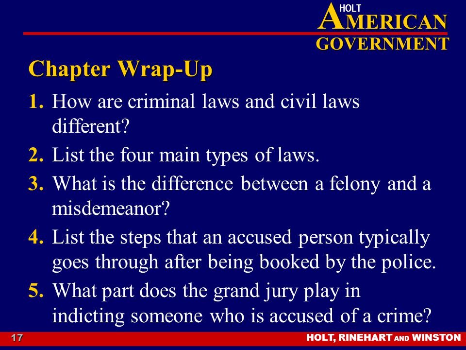 HOLT, RINEHART AND WINSTON A MERICAN GOVERNMENT HOLT 17 Chapter Wrap-Up 1.How are criminal laws and civil laws different? 2.List the four main types o