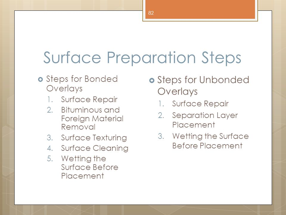 Surface Preparation Steps  Steps for Bonded Overlays 1. Surface Repair 2. Bituminous and Foreign Material Removal 3. Surface Texturing 4. Surface Cle