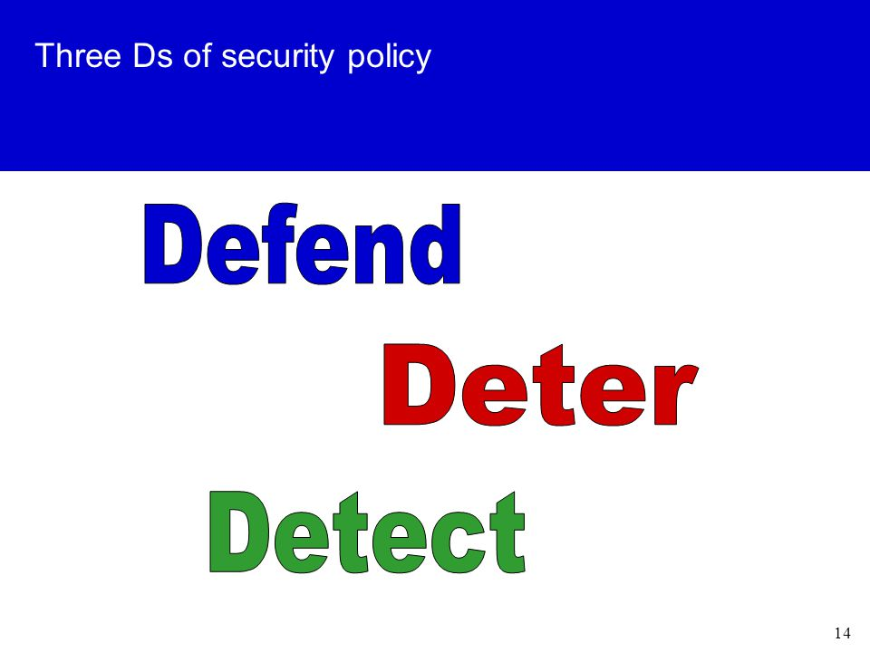 14 Three Ds of security policy