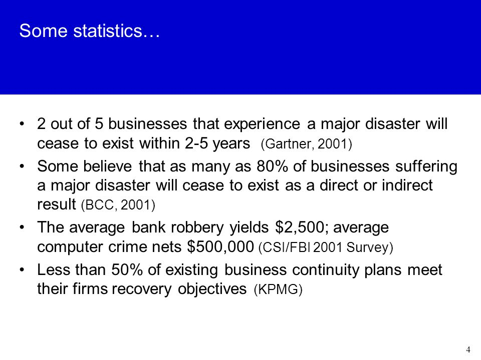 4 Some statistics… 2 out of 5 businesses that experience a major disaster will cease to exist within 2-5 years (Gartner, 2001) Some believe that as many as 80% of businesses suffering a major disaster will cease to exist as a direct or indirect result (BCC, 2001) The average bank robbery yields $2,500; average computer crime nets $500,000 (CSI/FBI 2001 Survey) Less than 50% of existing business continuity plans meet their firms recovery objectives (KPMG)